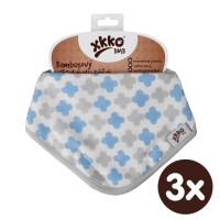 Bambusový slintáček XKKO BMB - Scandinavian Baby Blue Cross 3x1ks VO bal.
