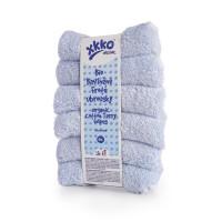 BIO bavlněné froté ubrousky XKKO Organic 21x21- Baby Blue 5x6ks (VO bal.)