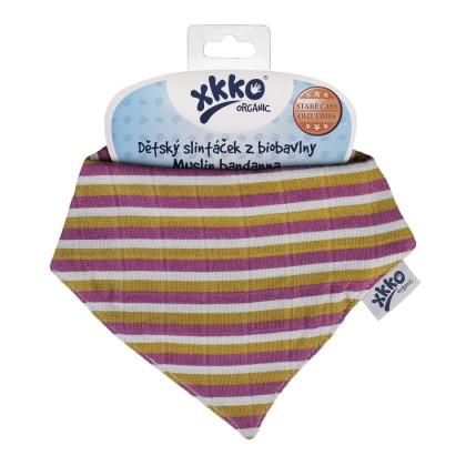 Dětský slintáček XKKO Organic Staré časy - Violet Stripes