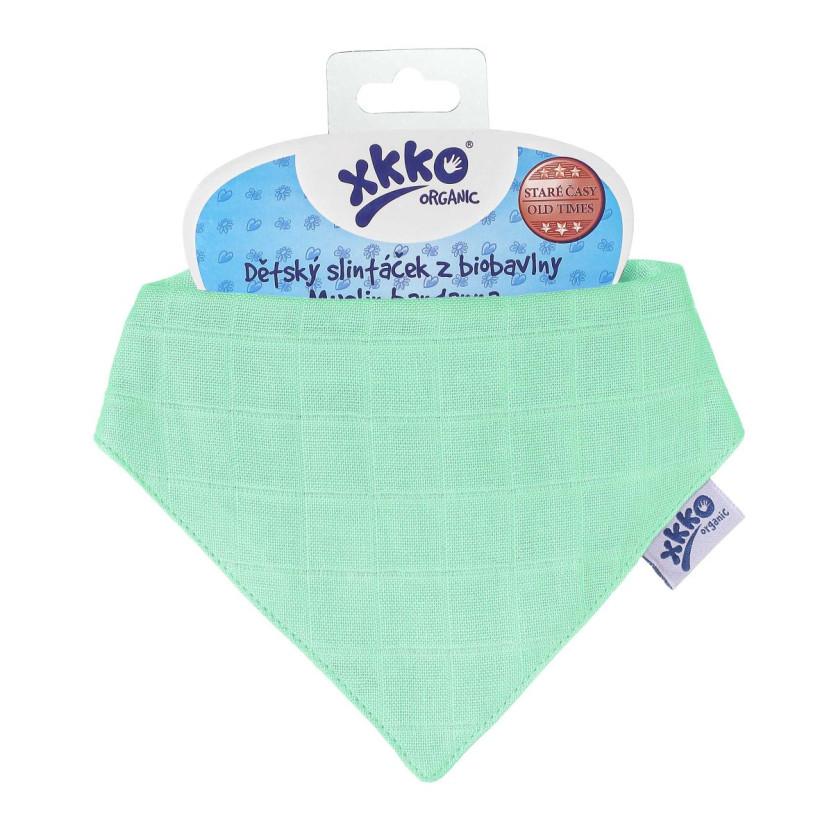 Dětský slintáček XKKO Organic Staré časy Light Green
