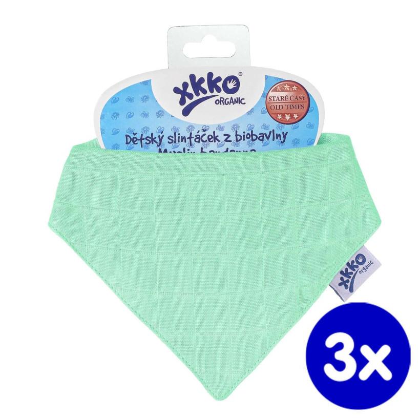 Dětský slintáček XKKO Organic Staré časy - Lights Green 3x1ks VO bal.