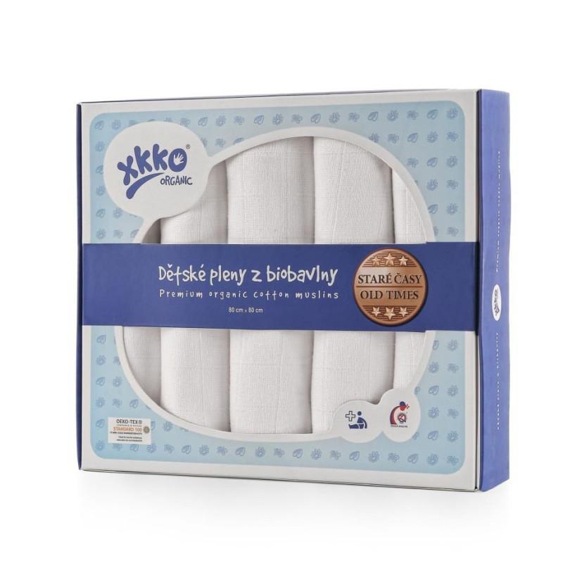 Dětské pleny z biobavlny XKKO Organic 80x80 - Staré časy Bílé