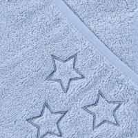 BIO bavlněná froté osuška s kapucí XKKO Organic 90x90 - Baby Blue Stars 5x1ks (VO bal.)
