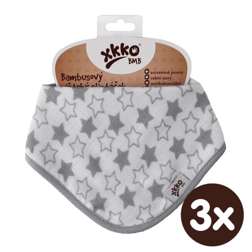 Bambusový slintáček XKKO BMB - Little Stars Silver 3x1ks VO bal.