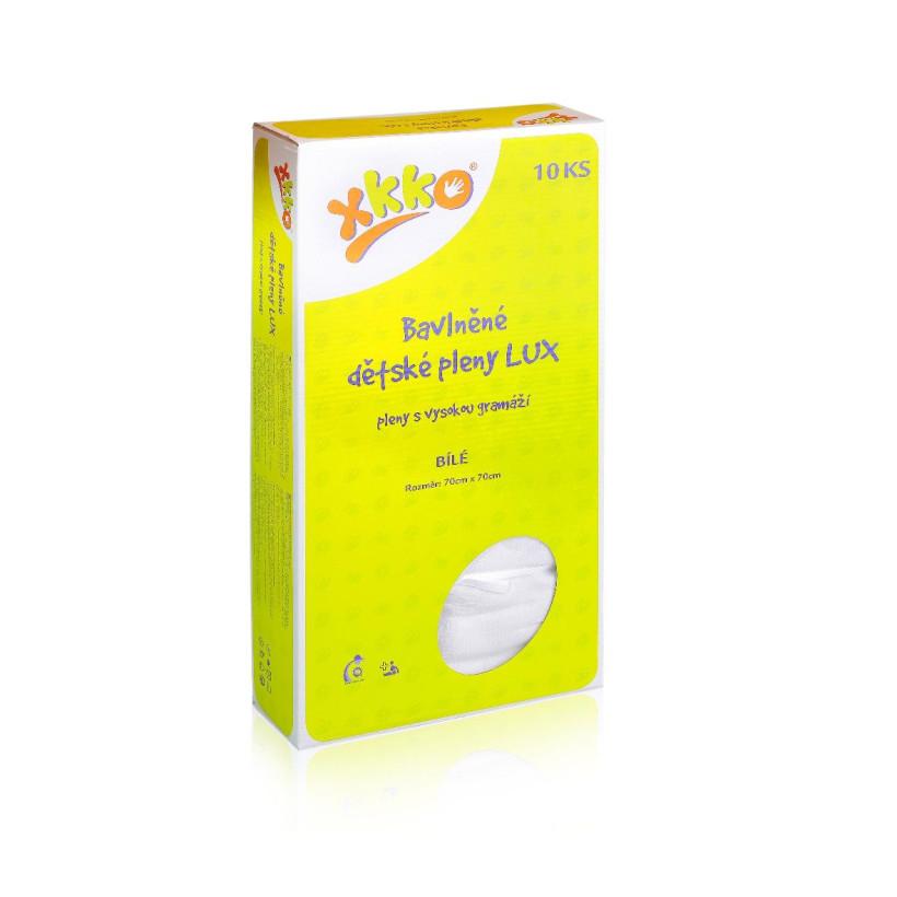 Vysokogramážní dětské pleny XKKO LUX 70x70 - Bílé 20x10ks VO bal.