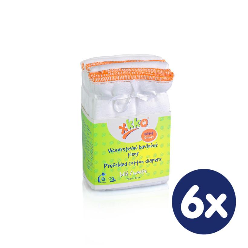 Vícevrstvé plenky XKKO (4/8/4) - Infant Bílé 6x6ks VO bal.