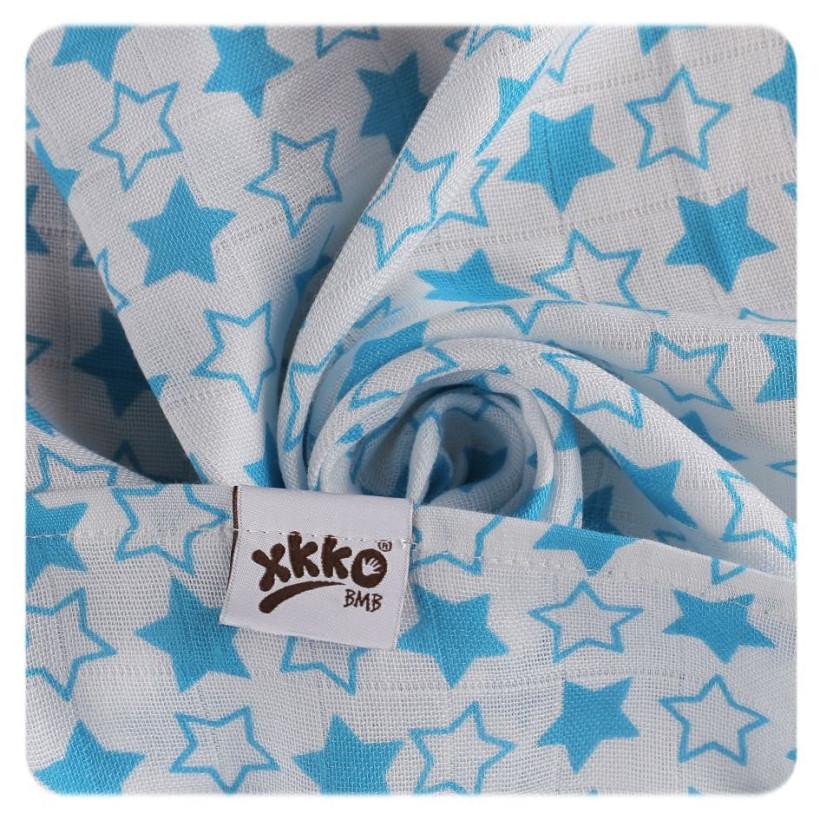 Bambusové pleny XKKO BMB 70x70 - Little Stars Cyan MIX 10x3ks VO bal.