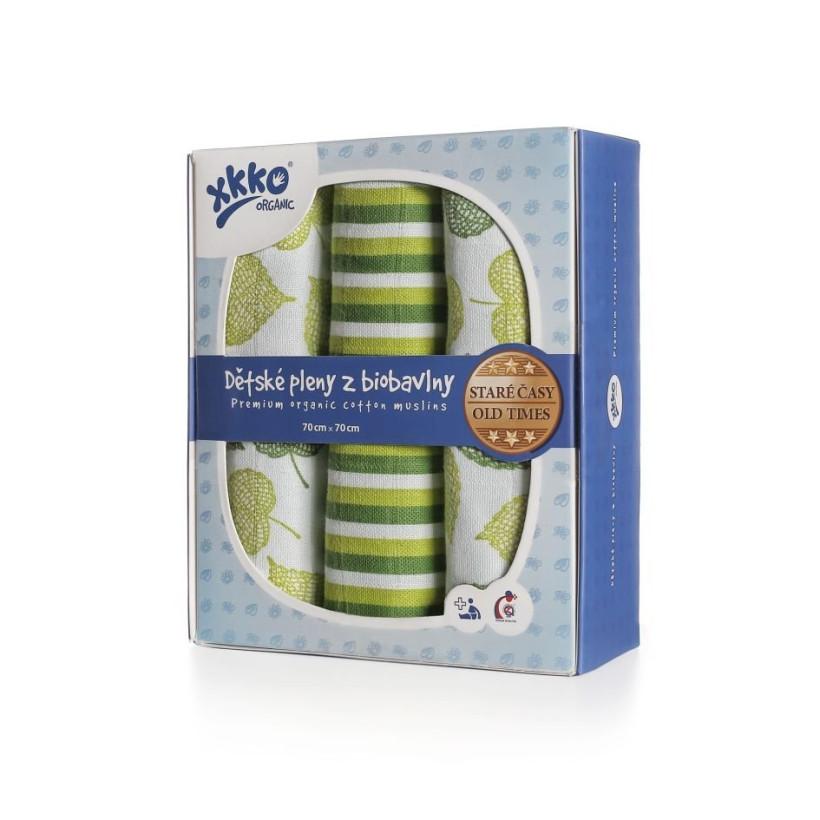 Dětské pleny z biobavlny XKKO Organic 70x70 Staré časy - Lípa