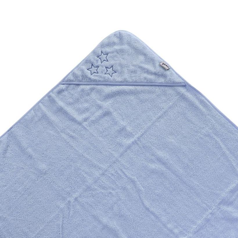 BIO bavlněná froté osuška s kapucí XKKO Organic 90x90 - Baby Blue Stars