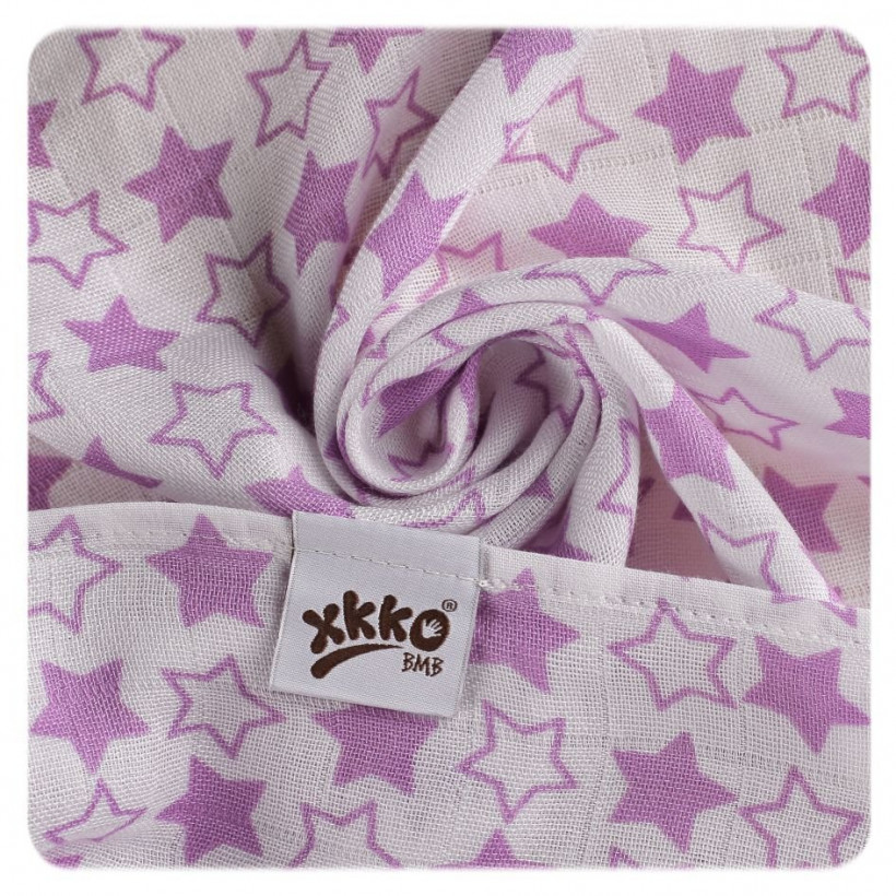Bambusové pleny XKKO BMB 70x70 - Little Stars Lilac MIX 10x3ks VO bal.