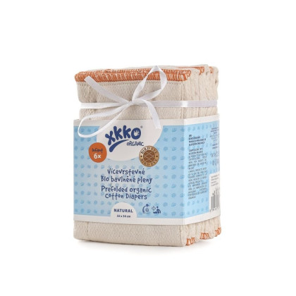 Vícevrstvé plenky XKKO Organic (4/6/4) - Bird Eye Infant Natural