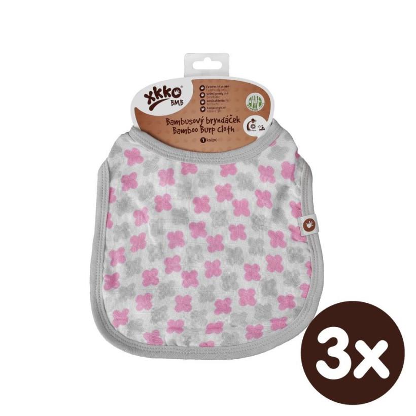 Bambusový bryndáček XKKO BMB - Baby Pink Cross 3x1ks VO bal.