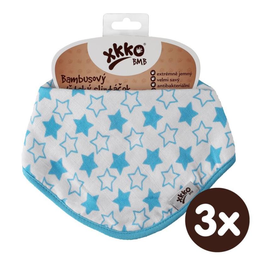 Bambusový slintáček XKKO BMB - Little Stars Cyan 3x1ks VO bal.