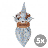 Bambusový muchláček XKKO BMB - Baby Blue Chevron 5x1ks VO bal.