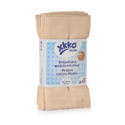 Dětské pleny z biobavlny XKKO Organic 40x40 Staré časy - Natural