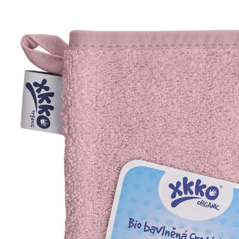 BIO bavlněná froté žínka XKKO Organic - Baby Pink