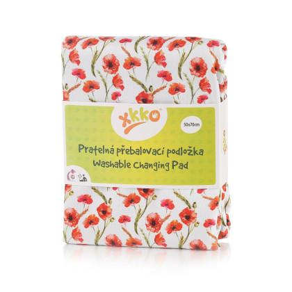Pratelná přebalovací podložka XKKO 50x70 - Red Poppies