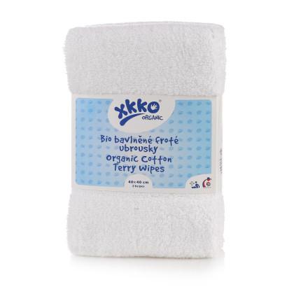 BIO bavlněné froté ubrousky XKKO Organic 40x40 - White
