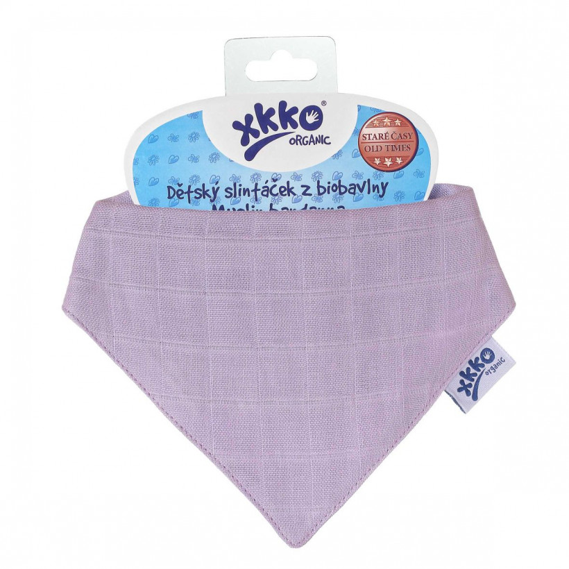 Dětský slintáček XKKO Organic Staré časy Ultra Violet
