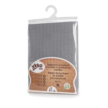 Bambusové prostěradlo s gumou XKKO BMB 50x70 - Baby Grey